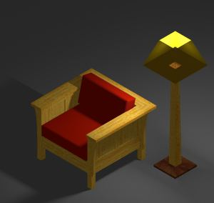 Example of Arts & Crafs Chair & Lamp with textures and lighting effects