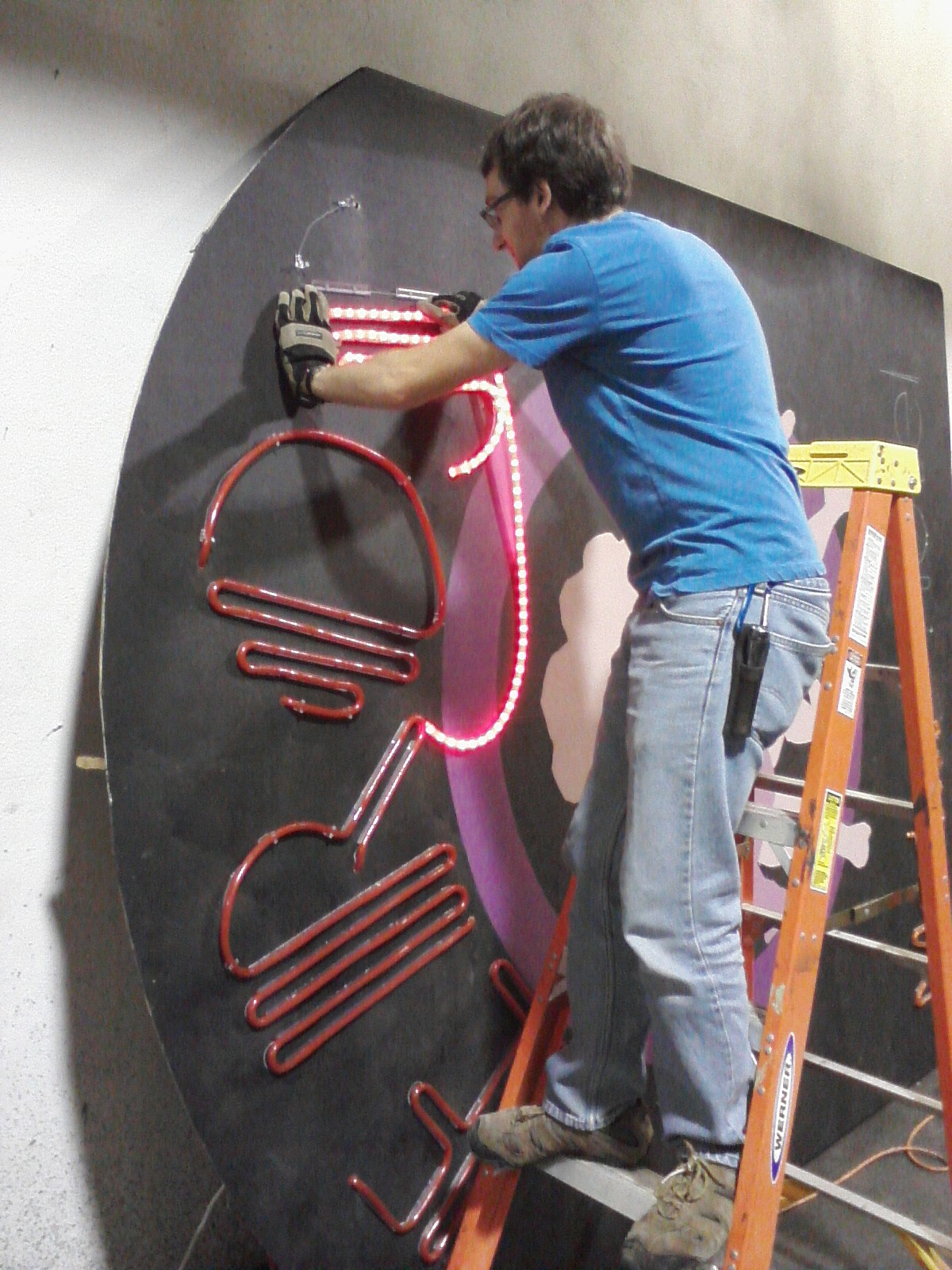 Faux neon sign for lysistrata jones designandtechtheatre senior student josh zieman took charge of the construction of the sign since the rope light can only be cut in 2 incriments he had to plan the cutting and aloadofball Image collections